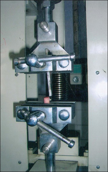 Figure 1: Specimen placed in universal testing machine